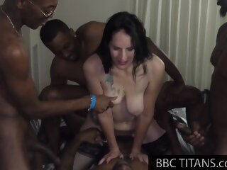 BBC Hotwife Double Vag Fucked by BBC Gangbang Team