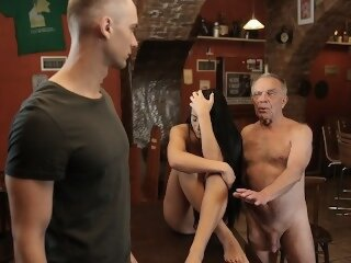 DADDY4K. Stocky old man properly fucks sons black-haired GF on table